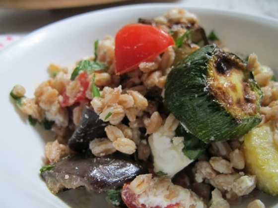 farro salad closeup